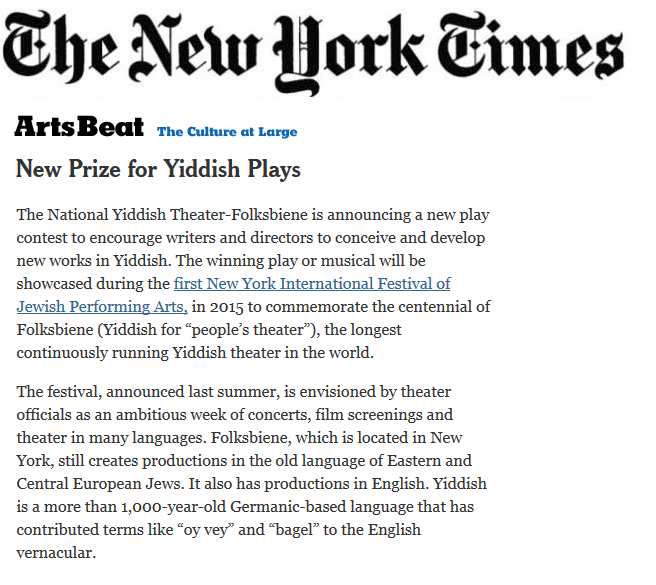Press  Nytf  Folksbiene The New York Times New Prize